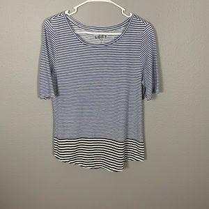 LOFT Ann Taylor Blue  Striped Tee Shirt